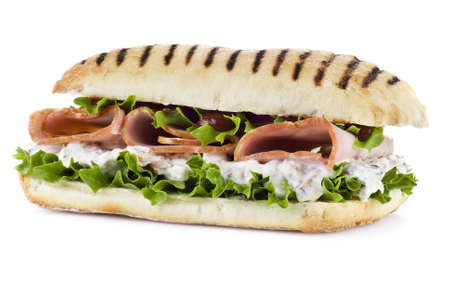 Ham and vegetable sandwich over white background Stock Photo - 9741403