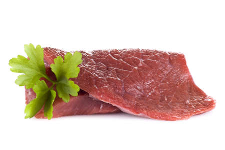 Raw beef frying steak isolated over white background Stock Photo - 9741401