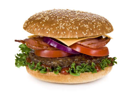 Beef and bacon burger isolated over white background photo