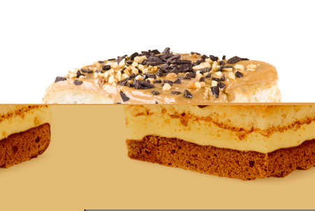 snickers: Freshly baked snickers cake isolated on white