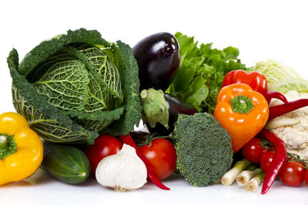 Vegetables isolated over white photo