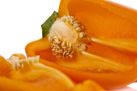 Ripped orange pepper isolated over white Stock Photo - 17345813