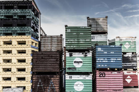 on the skids: stacked shipping crates