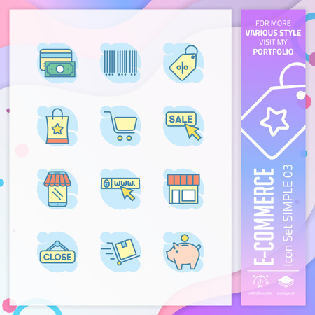 E-commerce icon set with simple style for shopping symbol. Business icon bundle can use for website, app, UI, infographic, print template and presentation.