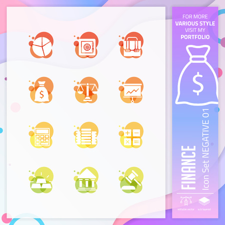 Finance icon set with glyph style for business symbol. Business icon bundle can use for website, app, UI, infographic, print template and presentation. Illustration