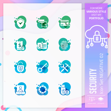 Security icon set vector with negative on colorful concept. Business icon for website element, app, UI, infographic, print template and presentation. Illustration