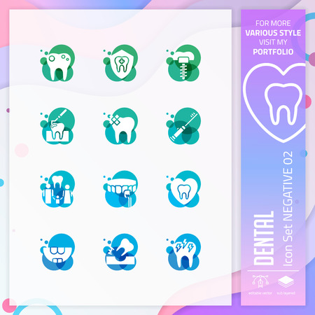 Dental icon set vector with negative on colorful concept. Dental clinic icon for website element, app, UI, infographic, print template and presentation.