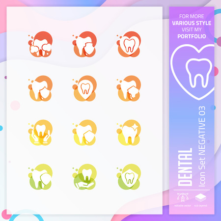 Dental icon set with glyph style for dental clinic. Healthcare icon bundle can use for website, app, UI, infographic, print template and presentation.