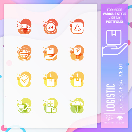 Logistic icon set with glyph style for shipping service. Business icon bundle can use for website, app, UI, infographic, print template and presentation. Illustration