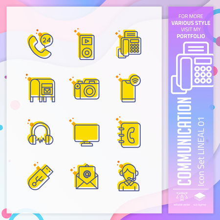 Communication icon set with lineal style for technology. Contact us icon bundle can use for website, app, UI, infographic, print template and presentation. Stock Illustratie