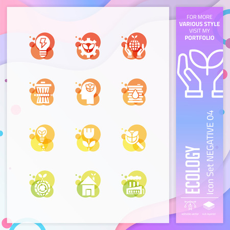 Nature icon set vector with negative on colorful concept. Ecology icon for website element, app, UI, infographic, print template and presentation.