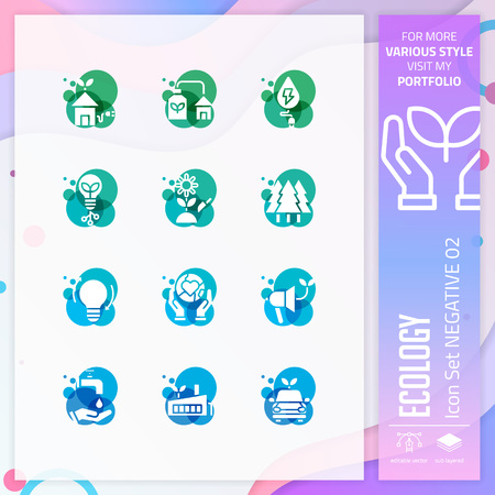 Ecology icon set with glyph style for nature symbol. Eco icon bundle can use for website, app, UI, infographic, print template and presentation.