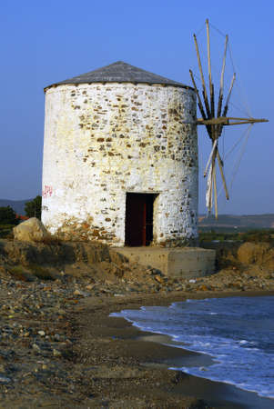 sithonia: The old windmill at the beach of Kalives in Halkidiki (Greece).