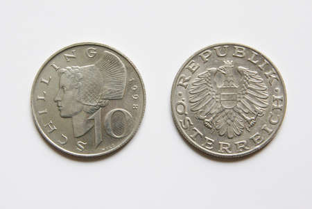 Old Austrian 10 Schilling coins (before Euro) Stock Photo - 5001525