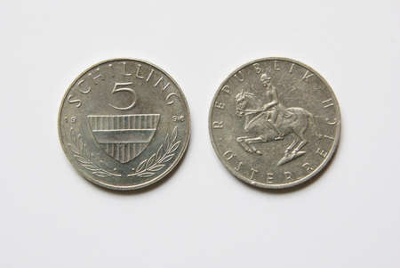 Old Austrian 5 Schilling coins (before Euro) Stock Photo - 5001520