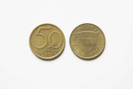 Old Austrian 50 Groschen coins (before Euro) Stock Photo - 5001524