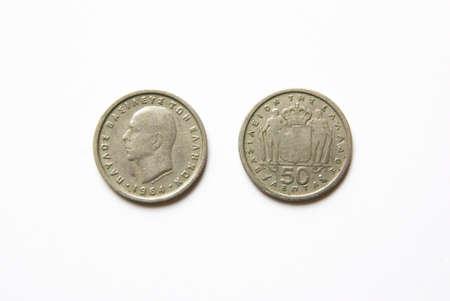 Stare greckie monety 50 lepta (1964) Zdjęcie Seryjne - 5115467
