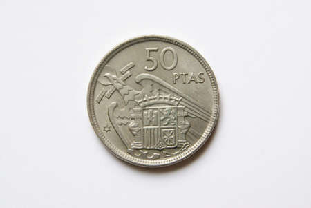 reverse: Spanish 50 pesetas coin (reverse) Stock Photo