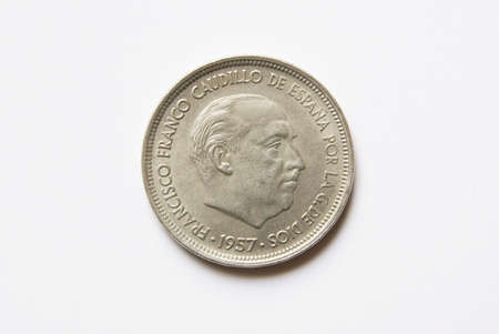 an obverse: Spanish 50 pesetas coin (obverse) Stock Photo