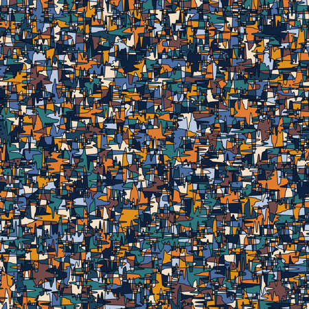 modern camouflage seamless repeating pattern with jagged lines and interlocking orange and blue pieces