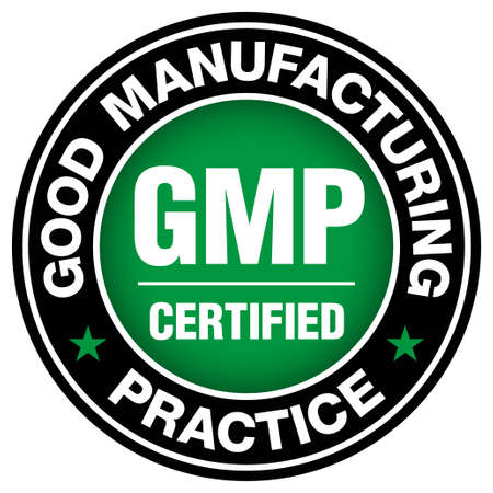 GMP (Good Manufacturing Practice) certified round stamp on white background - Vector Illustration