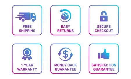 E-commerce security badges risk-free shopping icons set Foto de archivo - 143557432