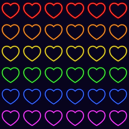 Colorful vector rainbow heart seamless repetitive vector pattern