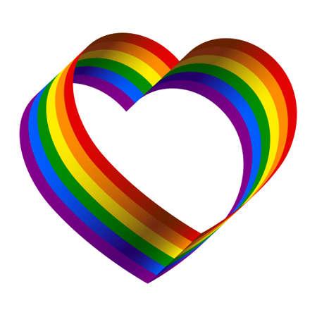 3d rainbow ribbon heart