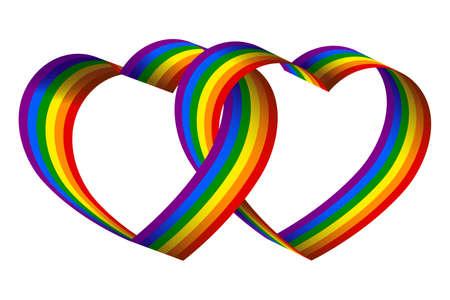 3d rainbow ribbon hearts