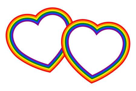 Colorful vector rainbow hearts