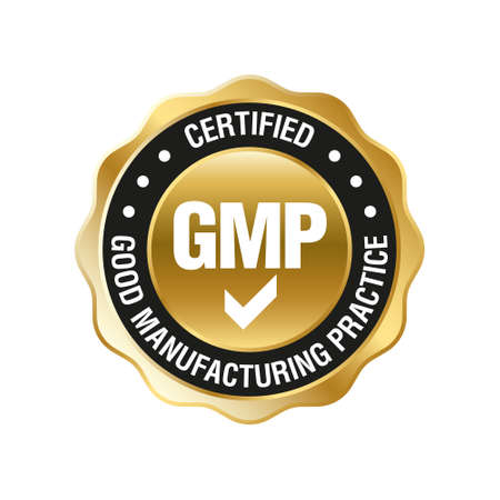GMP (Good Manufacturing Practice) certified round stamp on white background - Vector Vettoriali