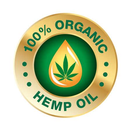 Hemp CBD oil icon 100% pure, organic, natural - vector
