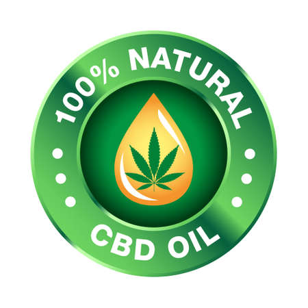 Hemp CBD oil icon 100% pure, organic, natural - vector Vector Illustration