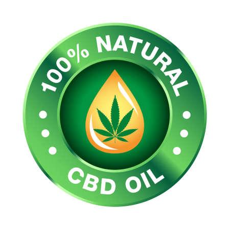 Icône d'huile de chanvre CBD 100% pure, biologique, naturelle - vecteur Vecteurs