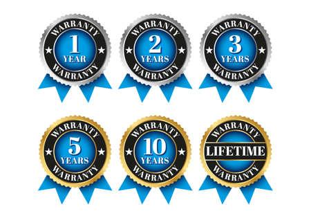 Quality certification warranty badge icon set, 1 year, 2 years, 3 years, 5 years, 10 years, lifetime warranty Vettoriali