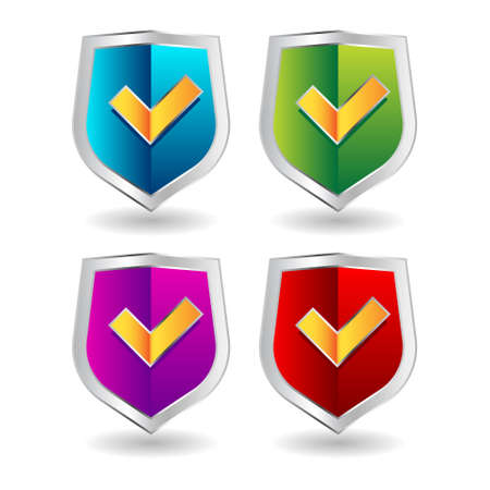 Shield badge icons set. 3D illustration of shield badge icons isolated on white background