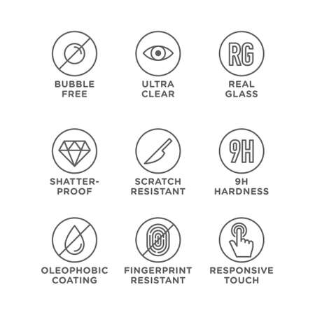 Smartphone screen protection icon set, tempered glass, screen 일러스트