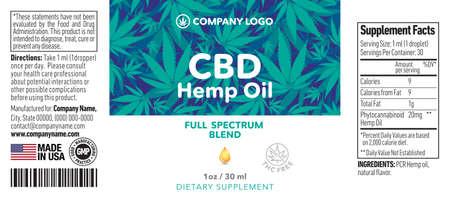 CBD Oil Bottle Label Template Design