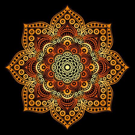 Round vector symmetric mandala. Circular pattern for Henna, Mehndi, tattoo, decoration. Decorative ornament in ethnic oriental style.