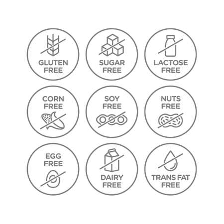 Allergen free icons set. Vector illustration 向量圖像