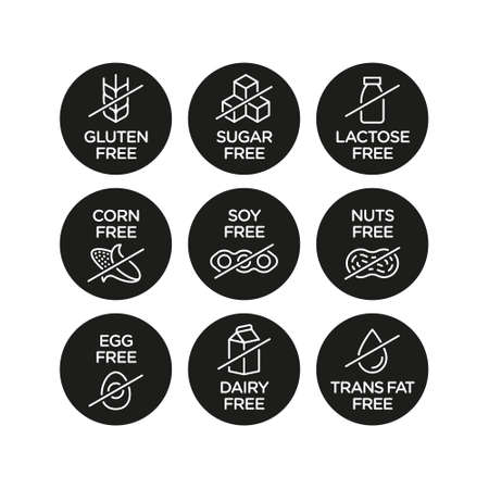 Allergen free icons set. Vector illustration