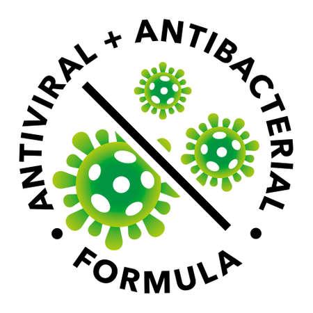 Antiviral and antibacterial formula vector icon. Coronavirus 2019 stop signs, health protection labels Ilustración de vector
