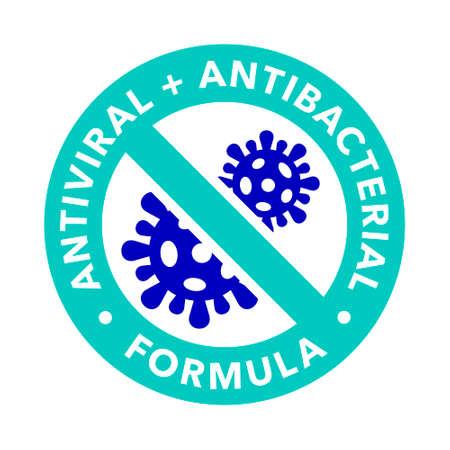 Antiviral and antibacterial formula vector icon. Coronavirus 2019 stop signs, health protection labels