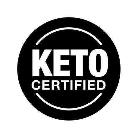 Ketogenic diet sign. rounded isolated button. Keto certified badge on white background, vector illustration