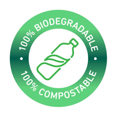 100% bioplastic, biodegradable, compostable vector line icon
