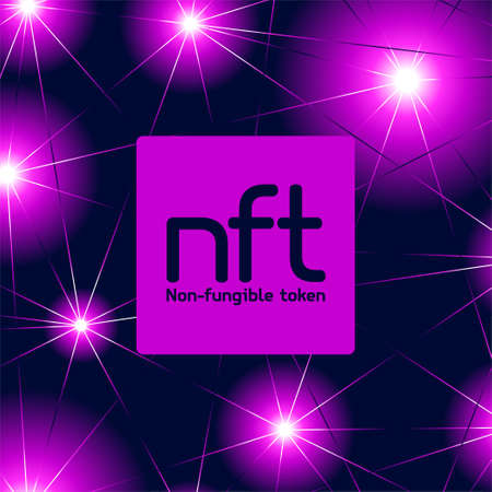 NFT non fungible token logo header banner vector illustration. Digital Art Concept.