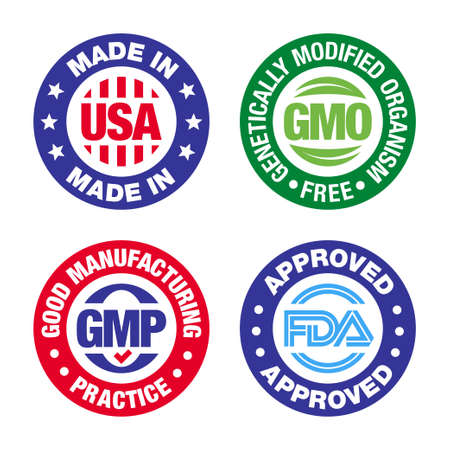 Four product badges, made in USA, GMO free, Good manufacturing practice, approved