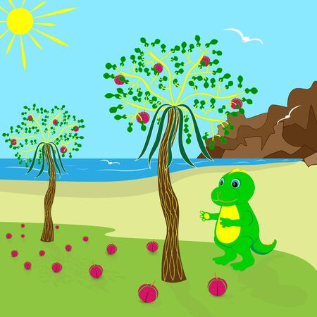 baby dragon on the island collects ripe fruit with a tree, cartoon character. Ilustração