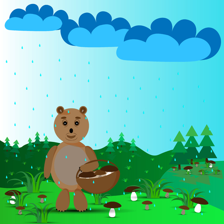 Bear with a basket and mushrooms on the outskirts in the rain Illustration
