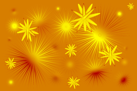 Gold background with flying molecules and prickly balls
